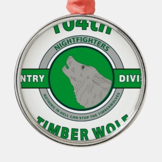 """104TH INFANTRY DIVISION """"TIMBER WOLF"""" Silver-Colored ROUND DECORATION"""