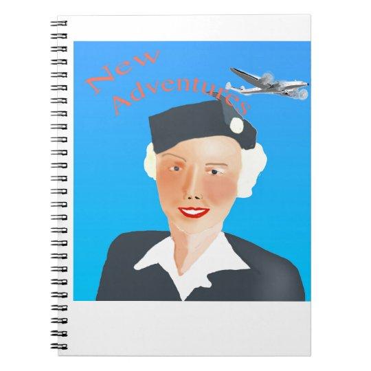 1050's Air Travel Stewrdess Spiral Notebook
