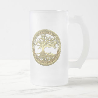 [105] Golden Celtic Tree of Life [3D] Frosted Glass Mug