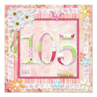 105th birthday party scrapbooking style 13 cm x 13 cm square invitation card