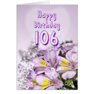 106th Birthday card with alstromeria lily flowers