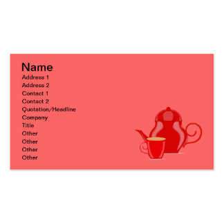 107 GLOSSY RED TEA KETTLE VECTOR GRAPHICS LOGO ICO PACK OF STANDARD BUSINESS CARDS