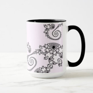 108-26 black lace on pale pink mug