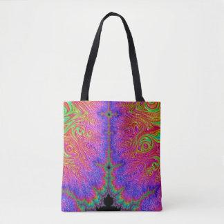 108-51 black mandy with purple lightning tote bag