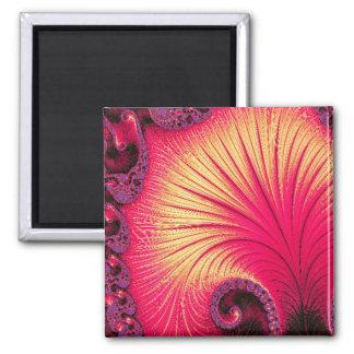 108-68 red & cream petals square magnet