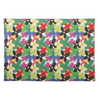 109 RETRO SKETCH COLORFUL FLOWERS FUN PATTERNS TEM PLACEMAT