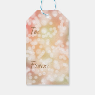 10 Bokeh Gift Tags, Pale Blush Pink Blurry Lights Gift Tags