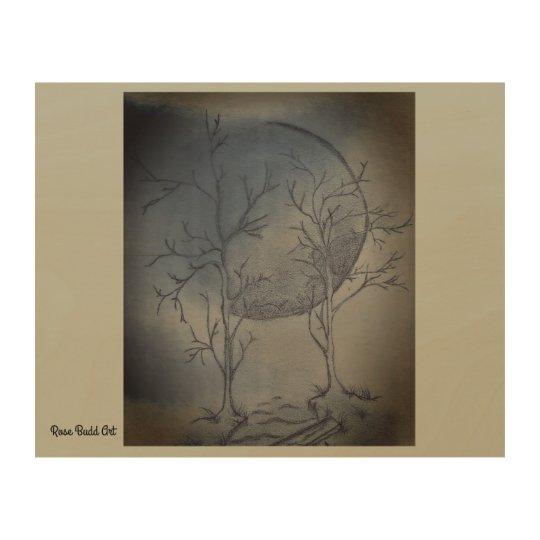 """10""""by 8""""wood wall art nights moon"""