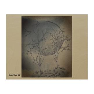 "10""by 8""wood wall art nights moon wood print"
