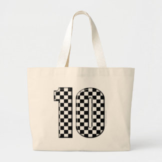 10 checkered auto racing number tote bags