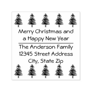 10 Christmas Trees - Square Self Inking Stamp