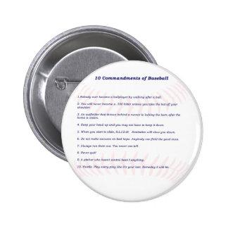 10 Commandments of Baseball! 6 Cm Round Badge