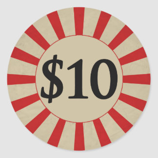 $10 (Dollar) Round Glossy Price Tag Round Sticker