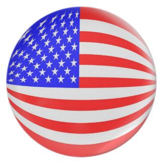 10 inch Plate USA American flag