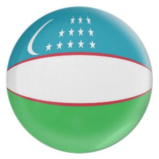 10 inch Plate Uzbekistan flag