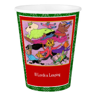 10 Lords a Leaping Cute Animals 12 Days Christmas Paper Cup