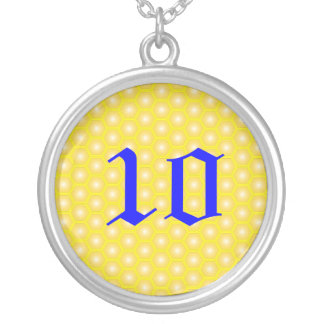 10, NUMBERS, LETTER ON HONEYCOMB ROUND PENDANT NECKLACE