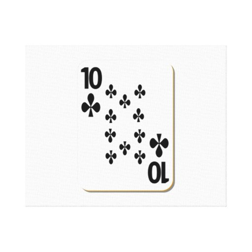 10 of Clubs Playing Card Canvas Print