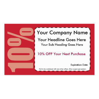 10% Off Coupon Pack Of Standard Business Cards