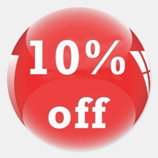10% Off (Percent) Round Glossy Sticker