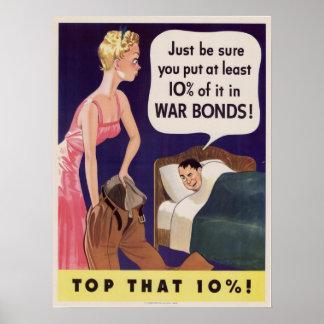 10 Percent War Bonds Poster