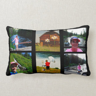 10 Photo Instagram Collage Black background Lumbar Pillow