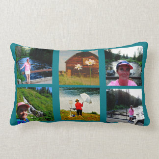 10 Photo Instagram Collage Blue background Lumbar Pillow