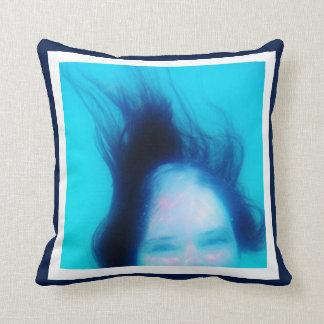 10 Photo Instagram Collage Blue background white Cushion