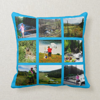 10 Photo Instagram Collage Blue background white Throw Pillow