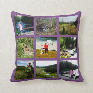 10 Photo Instagram Collage purple background white Cushion