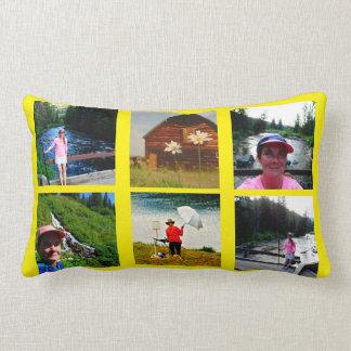 10 Photo Instagram Collage yellow background Lumbar Cushion