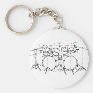 10 Piece Drum Kit: Black & White Drawing: Basic Round Button Key Ring