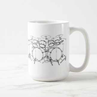10 Piece Drum Kit: Black & White Drawing: Coffee Mug