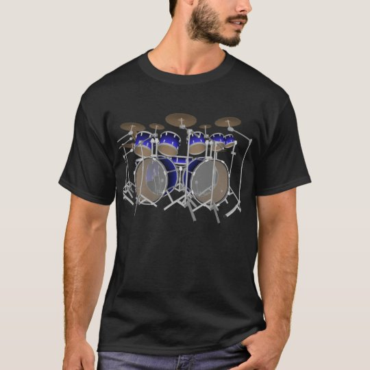 10 Piece Drum Kit: Blue Gradient: Black T-Shirt