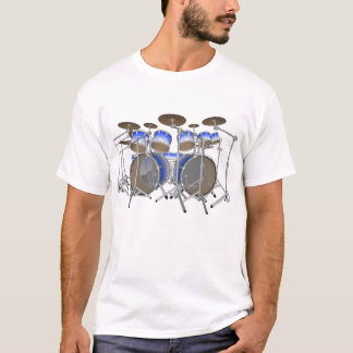 10 Piece Drum Kit: Blue Gradient: White T-Shirt