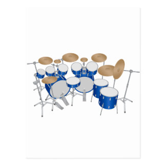 10 Piece Drum Kit: Vector Drawing: Postcard