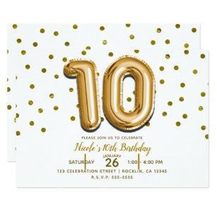 10 Ten Gold Balloon Confetti 10th Birthday Party Invitation
