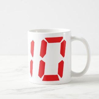 10 ten  red alarm clock digital number basic white mug