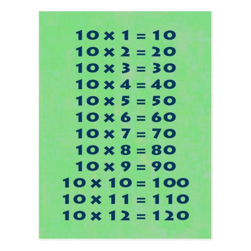 10 Times Table Collectable Postcard | Zazzle