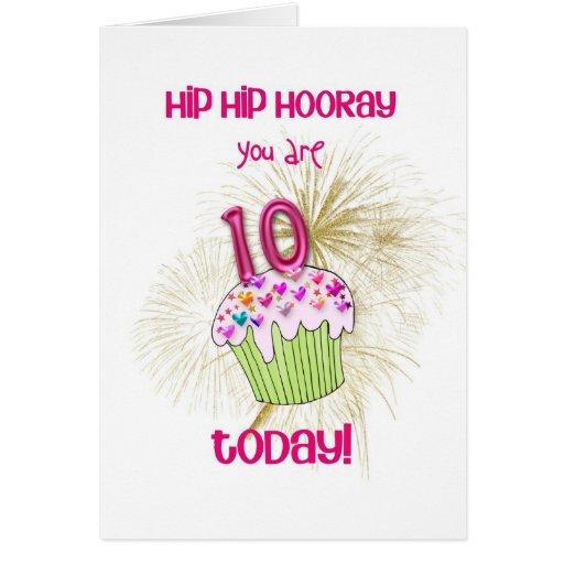 10 today cupcake birthday card