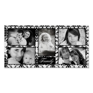 "10""x20"" 5 Slot Personalized Family Collage Montage Poster"