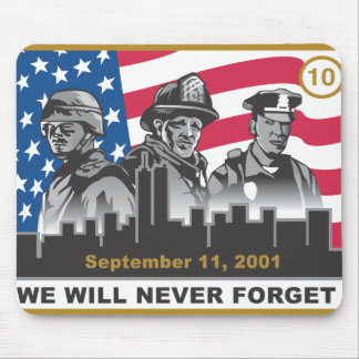 10 Year 9/11 Anniversary 3-Heroes Design Mouse Pad