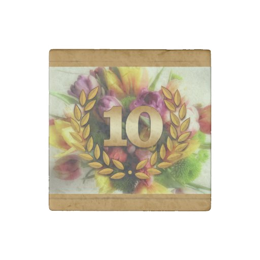 10 year anniversary floral illustration stone magnet