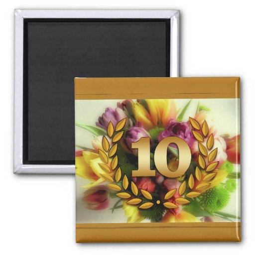 10 year anniversary floral illustration refrigerator magnet