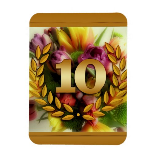 10 year anniversary floral illustration magnet