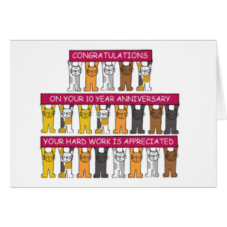 10 year Anniversary for employee. Greeting Card