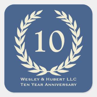 10 year milestone anniversary wreath navy label