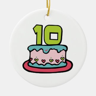 10 Year Old Birthday Cake Christmas Ornament