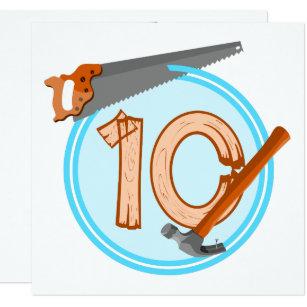 10 Year Old Boy Builder Tools Birthday Design Invitation