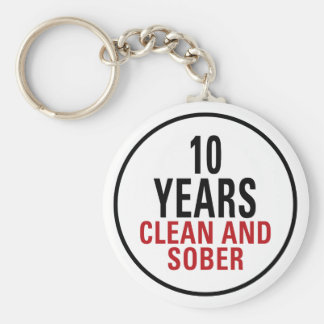 10 Years Clean and Sober Basic Round Button Key Ring